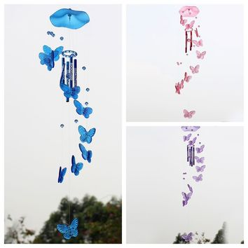 Creative Crystal Butterfly Mobile Wind Chime Bell Ornament Lucky Yard Garden Living Hanging Decor Art