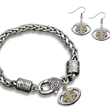 New Orleans Saints Charm Bracelet & Fashion Earrings , Perfect Jewelry Gift