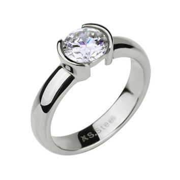 Max Bling Factor Ring - Imitation Diamond (CZ) In Yellow Gold Tone and Polished White Gold Tone