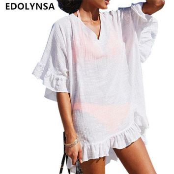 ICIK7N3 Bamboo Cotton Beach Cover up Swimwear White Swimsuit Robe de Plage Sarong Beach Poncho Beachwear Coverups Saida de Praia #Q317