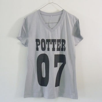 Potter 07 tshirt cotton grey short sleeve **v neck women shirts size S M L