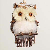Fabric Owl with Frosted Pinecone Ornament - World Market