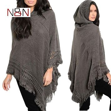Casual Winter Sweater Hooded Poncho And Cape Knitted Sweaters Tassel Pullover Solid Sweater Women Poncho And Capes Cashere Coat