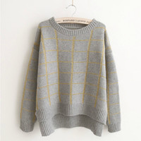 Plaid Pullover Knit Low High Scoop Sweater