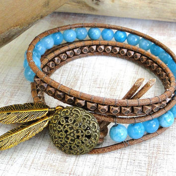 Indian boho wrap leather bracelet chan luu inspired double two 2 wraps with aquamarine and copper beads flower button and feathers charm