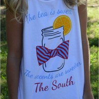Sweet Tea Tank Top in White by Lauren James