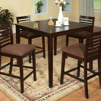 Furniture of america CM3001PT-5PK 5 pc. eaton ii contemporary style espresso wood finish counter height dining table set
