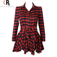 Red Plaid Bowknot Waist Long Sleeve Shift Dress A Line Casual Slim Mini Fall Skater Asymmetric Dresses 2016 Spring Women