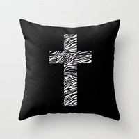 Zebra Cross (Black) Throw Pillow by daniellebourland