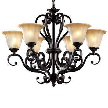 LNC 6 Light Traditional Chandeliers, Antique Black Iron Pendant Lighting