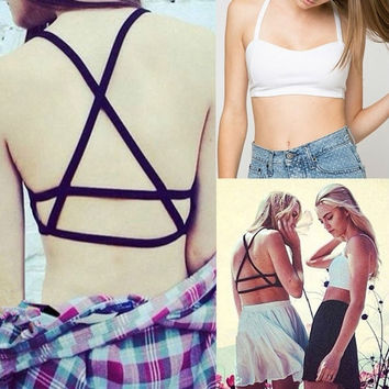 New Women Sexy Crop Bustier Cutout Shirt Strappy Tank Cami Yoga Sport Tops Black White 2 Colors = 1932552196