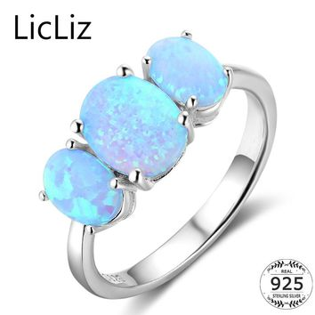 LicLiz 925 Sterling Silver Three Stone Ring For Women Oval Blue Opal Ring Gemstone Solitaire Ring Wedding Band For Party LR0370