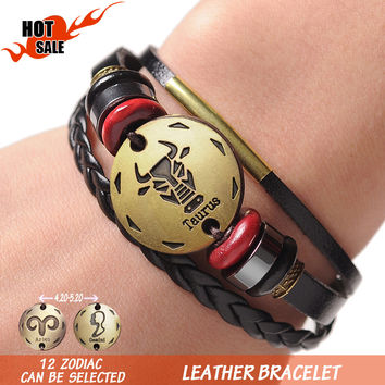 12 Zodiac Signs Cuff Leather Bracelet Men Femme Charms For Women Jewelry Couple Lovers Fits For Original Bracelets & Bangles