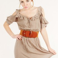 KHAKI RUFFLE TRIM BELTED DRESS @ KiwiLook fashion