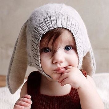 Autumn Winter Toddler Infant Knitted Baby Hat Adorable Rabbit Long Ear Hat