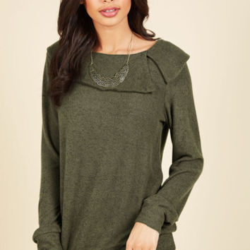 Calming Presence Sweater in Olive | Mod Retro Vintage Short Sleeve Shirts | ModCloth.com