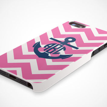 Apple iPhone 5 5s Cell Phone Case Chevron Anchor Circle Monogram Custom Personalized Initial Protective White Plastic Hard Cover VM-1045