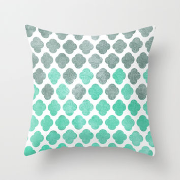 Grey Sky Over Blue Ocean - Moroccan Pattern Throw Pillow by Tangerine-Tane