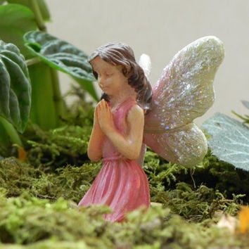 Fairy Garden miniatures Handcrafted sign - Believe - praying fairy supply for fairy garden, terrarium, or miniature garden