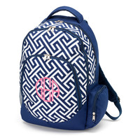 Navy Greek Key Monogrammed Backpack - A Back to School Must Have!