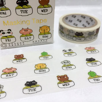 weekly washi tape 5M Seven Days weekly planner Masking tape Sunday, Monday, Tuesday, Wednesday, Thursday, Friday, Saturday label sticker