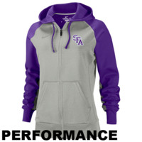 Nike Stephen F. Austin Lumberjacks Ladies Logo Full Zip Performance Hooded Sweatshirt - Gray/Purple