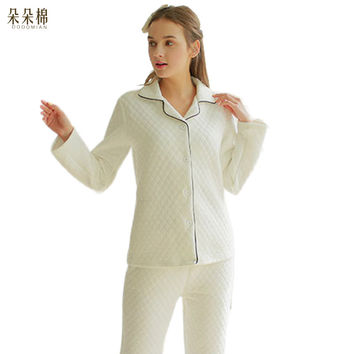 Luxury Brand Silk Cotton Winter Pajama Sets Pure Color Women Long Sleeve WarmHome Clothing Pajama Set - Long Pjs