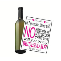 Be My Bridesmaid Wine Bottle Labels Customized Personalized Set of 4