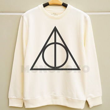 S M L -- Deathly Hallows TShirts Harry Potter TShirts Funny Tee Shirts Jumpers Long Sleeve Sweater Unisex TShirts Women TShirts Men TShirts