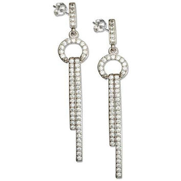 Sterling Silver Cubic Zirconia Circle and Bars Dangle Earrings
