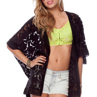 Gardenia Lace Open Cardigan in Black :: tobi
