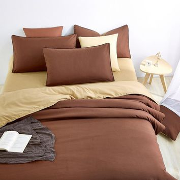 Retro Style Bedding Sets Brown Bed Sheet And Duver Quilt Cover Pillowcase  Soft And Comfortable King