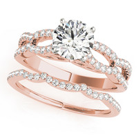 Engagement Ring -Petite Diamond Bridal Set with Split Band-ES2017RGBS
