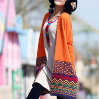 Ethnic Print Long Sleeve Cardigan