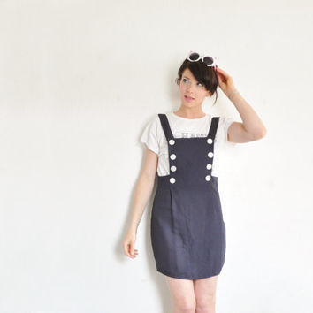 r e s e r v e d navy blue jumper dress . button overall mini skirt .small medium