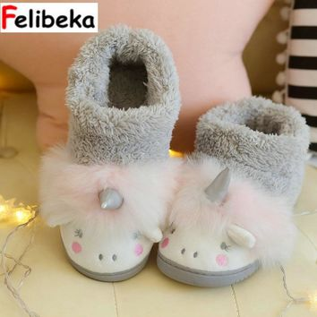 Winter new cute cartoon Cotton shoes women's bags and indoor floor couple unicorn cotton lovely slippers women shoes