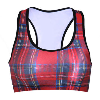 Hot Sale Print Red Plaid With Steel Wire Sports Bra [6533681543]