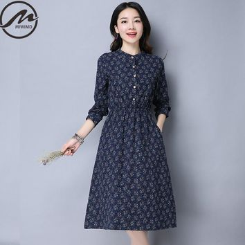 MIWIMD Plus Size Women Spring Dresses 2017 New Fashion Casual Long sleeve printed elastic waist Cotton Linen Vintage Long Dress