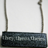 CUSTOM Sparkle Pronoun Placards Queer Resin Necklace