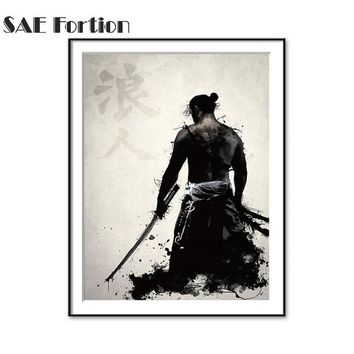 Japanese knight Unframed Canvas Creation Of Adam Painting Canvas Famous Oil Painting For Living Room Wall Art Picture Wall Decor
