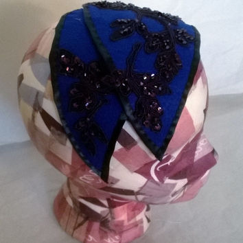 Blue Retro Style Felted Hat With Flowers - Free shipping