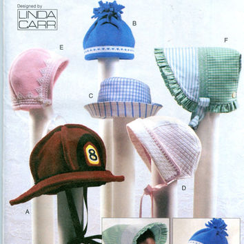 Vogue 7705 BABY BONNET & HAT Pattern Fire Truck Hat SunBonnet by Linda Carr UNCuT Baby Infant Sewing Patterns Size Newborn Small Medium