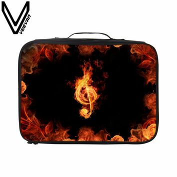 VEEVANV Fashion Clothes Packing Organizers Men Waterproof Travelling Luggage Fire Skull 3D Printing Tote Hanbag Women Travel Bag