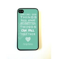 iPhone 4 Case Silicone Case Protective iPhone 4/4s Case Marilyn Monroe Quote Love Turquoise