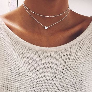 Hot Fashion 2 Layers Heart Pendant Choker Necklaces Chain Necklaces Collar Necklace for Women Summer Gifts