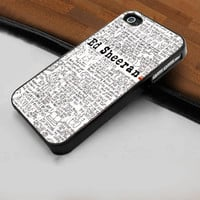 Cool Ed Sheeran Poster  - Hard Case Print for iPhone 4 / 4s case - iPhone 5 case - Black or White (Option Please)