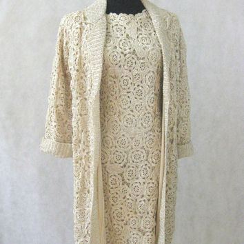 50s 60s RARE Dress Suit, Vintage Natural Beige Cream Fully Lined Floral Woven Raffia Dress with Matching Jacket Size Medium to Large