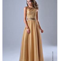 Nina Canacci 7112 Gold Grecian Inspired Gown Prom 2015