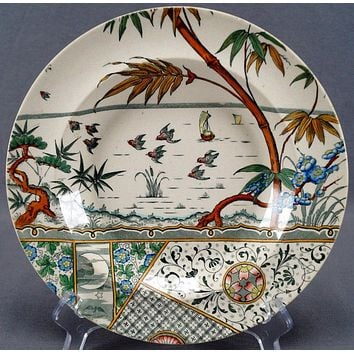 Antique Polychrome Green Transferware  Aesthetic Movement Soup Plate Rim Bowl Gildea Walker Melbourne