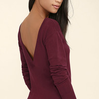 Me Too Wine Red Backless Sweater Top